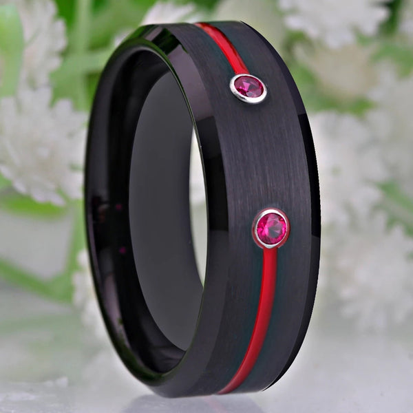 Thin Red Line Firefighter Wedding Rings Black Tungsten Carbide Red Groove Fire Department Fighting Fireman Logo 2 Red Zircons Rings / Bands Men's Jewelry Gifts Guys