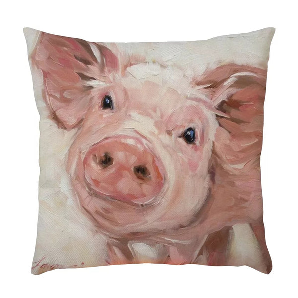 Farmhouse Barnyard Animals Pillow Covers Cow Pig Home Accent Accessories Decorations