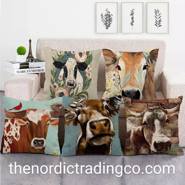 Farmhouse Floral Cow Pillow Cushion Covers Modern Farmhouse Barnyard Animal Home Decor Bed Chairs Sofa Accent Pillows Pillowcase