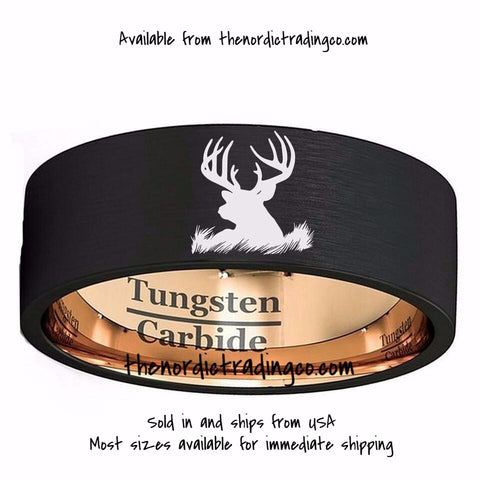 9f8f548f229 Sale Brushed Black Tungsten Carbide Etched Deer Head Silhouette Men s  Wedding Ring Engagement Grooms Band Antler Rings