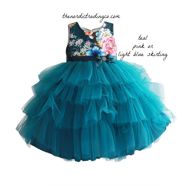 Flower Girl Boutique Dresses Floral Bodice Layered Tulle Long Skiriting Teal Blue White or Pink Prinsess Easter Party Dress Sleeveless