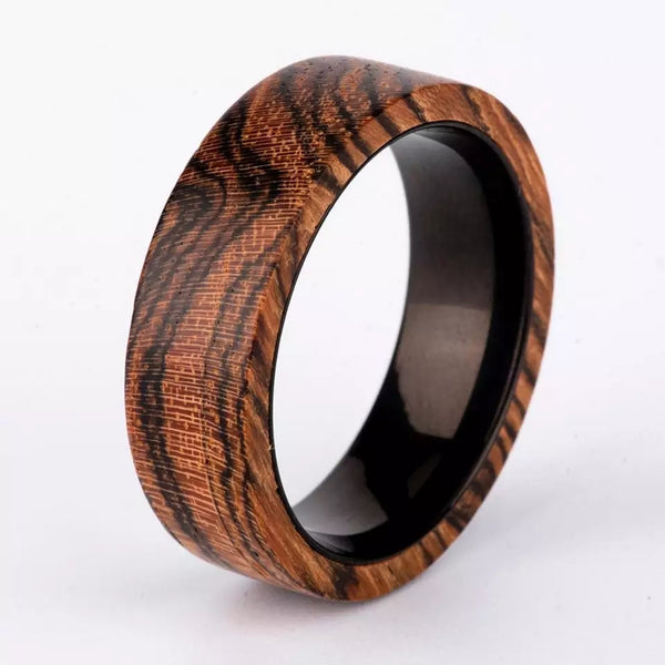 Mens Natural Wood Wedding Rings Black Titanium Inner Band Incredible Finished Wood Grain Jewelry Gifts Men Guys Fathers