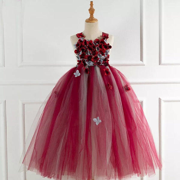 Crimson Red Gray Layered Tulle Flower Girl's Dress Toddler to Teens Girl Gowns Full Length Dresses Jr Bridesmaids Gowns Formal Event Wedding Attire