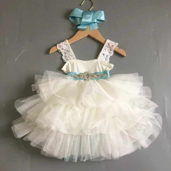 Ivory Tiffany Blue Flower Girls Dress Tiered Tulle Tutu Skirt Lace Body & Straps Wedding Girl Dresses Deco Crystal Blue Sash Kids Childrens Toddlers Fancy Clothes Formal Clothing