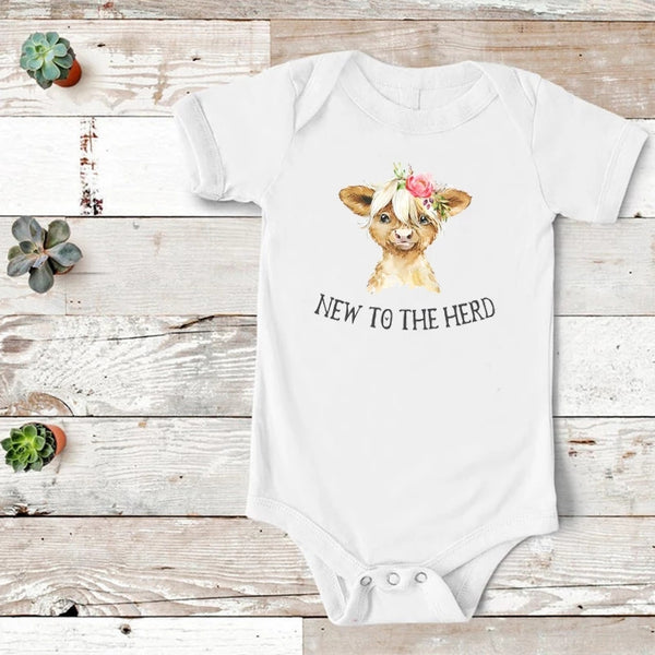 Scottish Highland Cow Hippie Cows New to the Herd Baby Shower Gift Ideas Farm Girl Life nb 6mo clothes