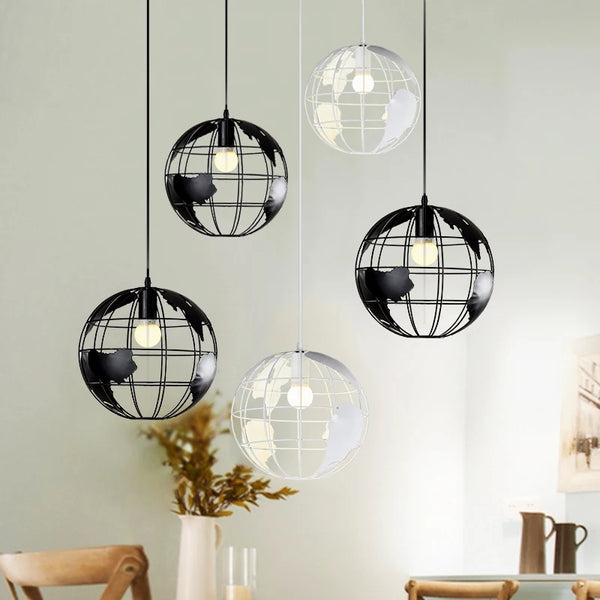 World Globe Pendant Light Nordic Home Decor Adventure Travel Lamps Hanging Lighting Office Bedroom Mens Boys