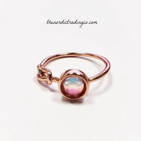 Women's Rose Gold Moonstone Love Knot Ring Women's Jewelry Gifts Accessories Valentine's Day Birthday anyDay Ring's Gifts Her