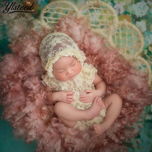 Newborn Girl's Handmade Lace Photo Prop Outfits Pink White Off White 2pc Romper Bonnet Hat Girls Infant First Photos Baby Shower Gift
