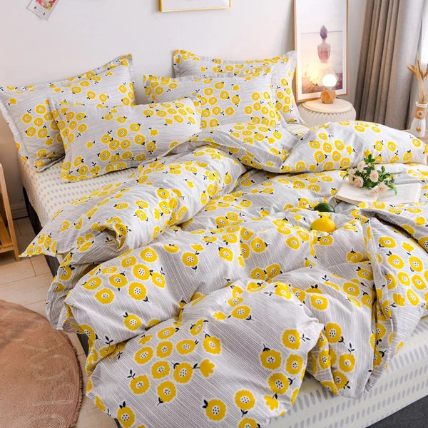 Fall Bedding Charming Florals Tiny Checks Lemons Peaches Boho Farmhouse Decor Duvet Cover Sets Bedroom