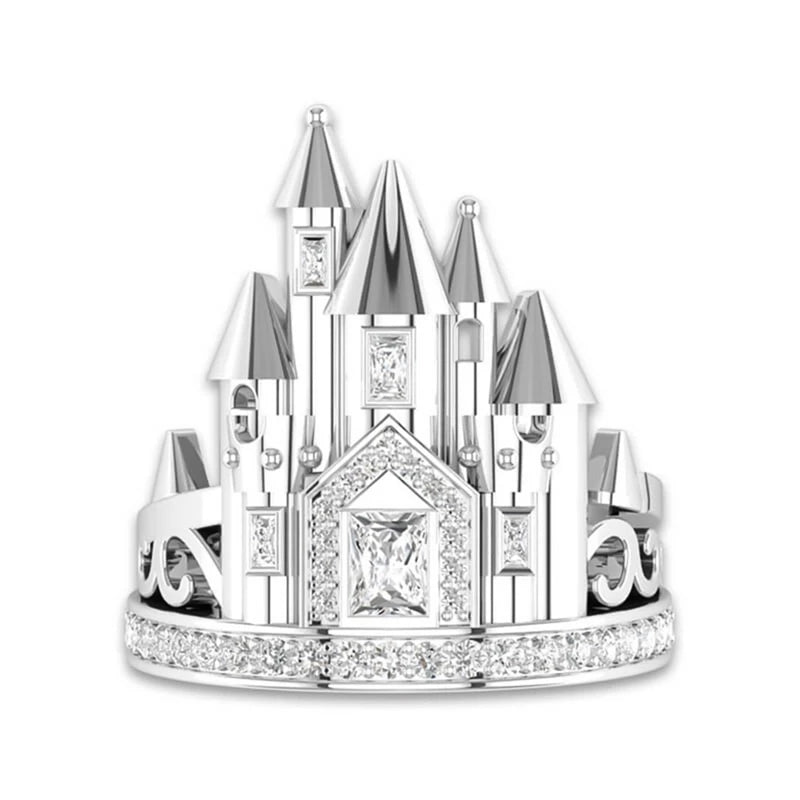 Princess Cinderella Castle Women's Ring Fairytale Rings Jewelry Gifts Statement High Fashion Women Gift Valentine's Day