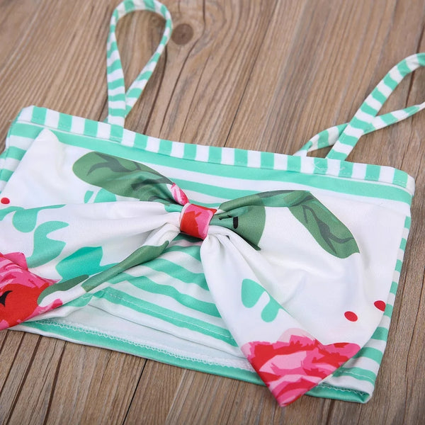 Mint Pink Vintage Floral Rose and Flamingo Headband Baby Boutique Girl's 2 Piece Swim Suit sz 2T / 24 mo Girls Beach Wear La Playa Bikini Toddler Girls' Swimming Bathing Suits