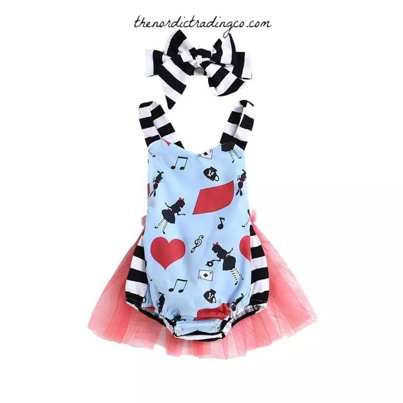 Alice in Wonderland Tutu Romper Baby Girl's Outfits First Birthday Party Gifts Girls Infant Toddler Baby Girl Half Unbirthday 12 18 24 mo Skirts Dresses Halloween