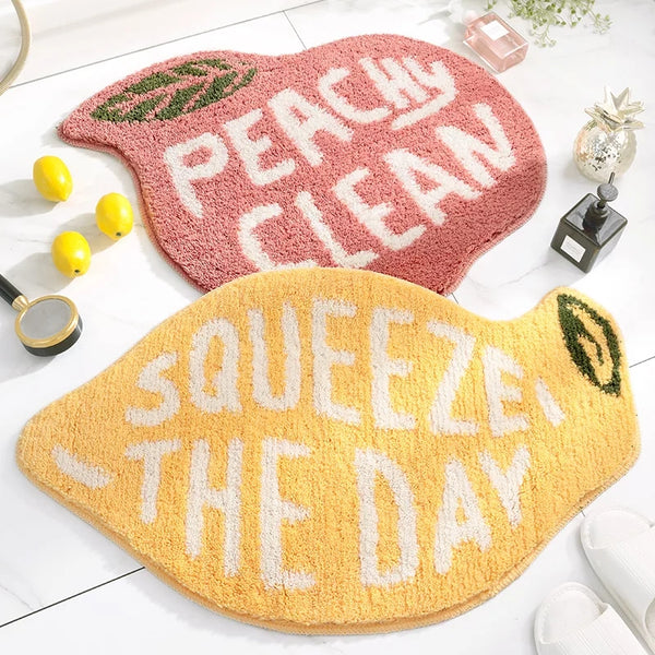 Peachy Clean or Squeeze the Day Fruit Bathroom Bedroom Rug Bath Mat Urban Home Decor
