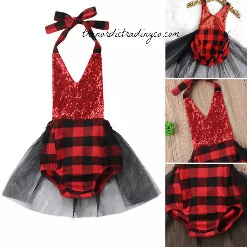 Buffalo Plaid Tutu Romper Birthday Christmas Baby Lumberjack Woodlands Girls Outfits Family Photo Birthday Party Dress Skirt USA