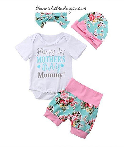 Happy 1st Mother's Day Gift Outfit Mommy Newborn Baby Girl Baby Shower Gifts Mom 0/6 mo Girls Outfits Sets