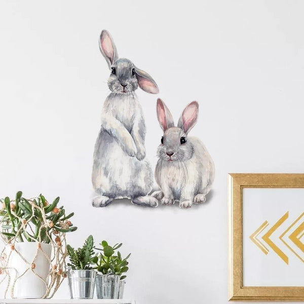 Bunny Rabbit Wall Decal Art Baby Girl Childrens Room Decor Nursery Bedroom Sticker Girl's Nordic Decorations