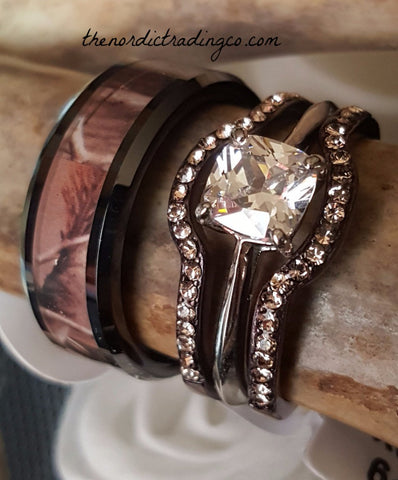 Latest Trending Camo Wedding & Engagement Ring Sets Tungsten Carbide Grooms Band Women's Chocolate Plated 3 Ring Set Featuring A Stunning Princess Cut AAA CZ