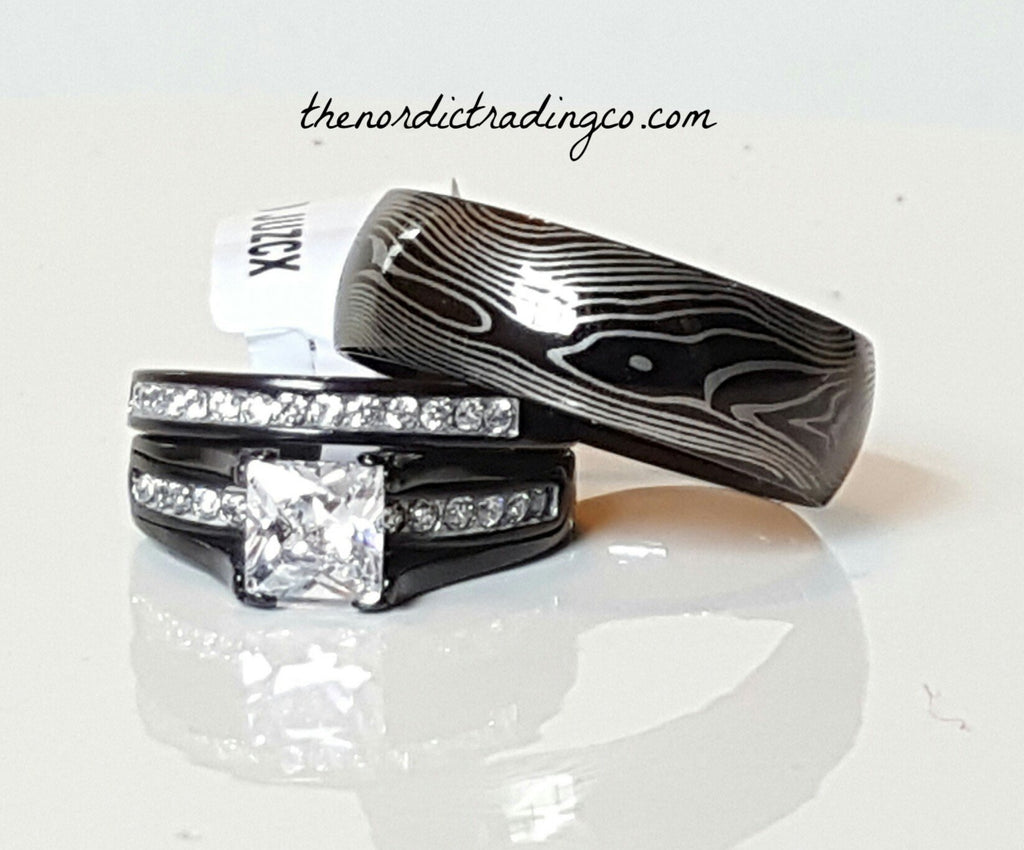 Black and Silver Wedding Ring Set His-n-Her's Titanium Men's Band with Wood Grain Etching Women's Bridal & Engagement Rings 3 Ring Set Any Size