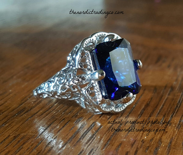 Womens Art Deco Inspired Sapphire Blue Topaz Engagement Ring 6,7,8,9,10 Women's Ladies Jewelry Gifts