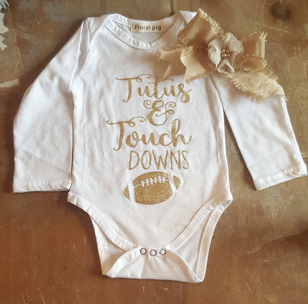 TuTu's & Touchdowns Football Theme Bodysuit & Bow Infant Newborn Onesie Baby Girl Boutique Clothing 0/3 mo. Girls' Baby Shower Gift Ideas