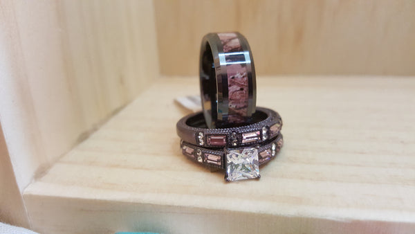 Chocolate Brown Rings with Blush Accent Stones. Tungsten Camo Band