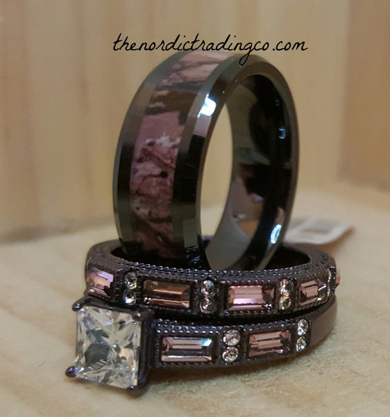 Couples Wedding Ring Set Men's Camo Inlay Tungsten Carbide Band Women's 2 Rings Chocolate & Blush CZ His Hers Sets Bands