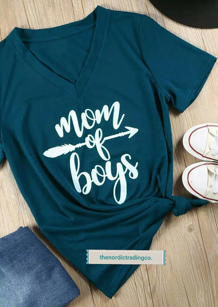 Mom Of Boys Teal Women's T Shirt Mother's Day Gifts Top Trending Gift sz L XL Ships FAST from USA