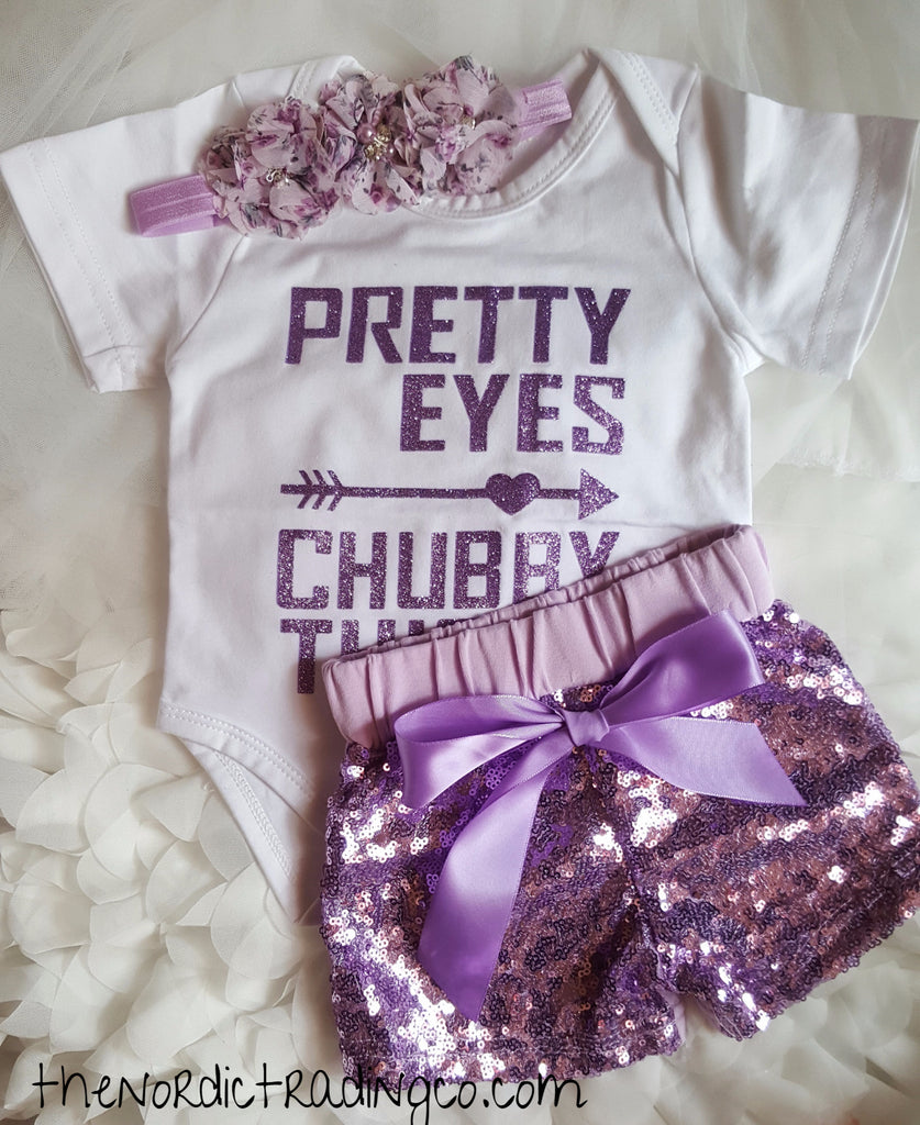 Pretty Eyes Chubby Thighs White Onesie Purple Sparkle Sequin Shorts  Headband Free Gift 3mo Baby Girl
