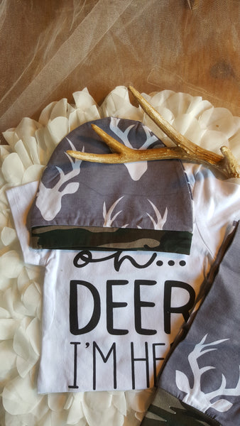 Oh Deer I'm Here Newborn Boy 3 pc Sets Photo Prop Baby Shower Gift 0/6mo. Boy's Sets Deer Hunt Gifts Clothing Onesie Hat Long Pants Gray Camo