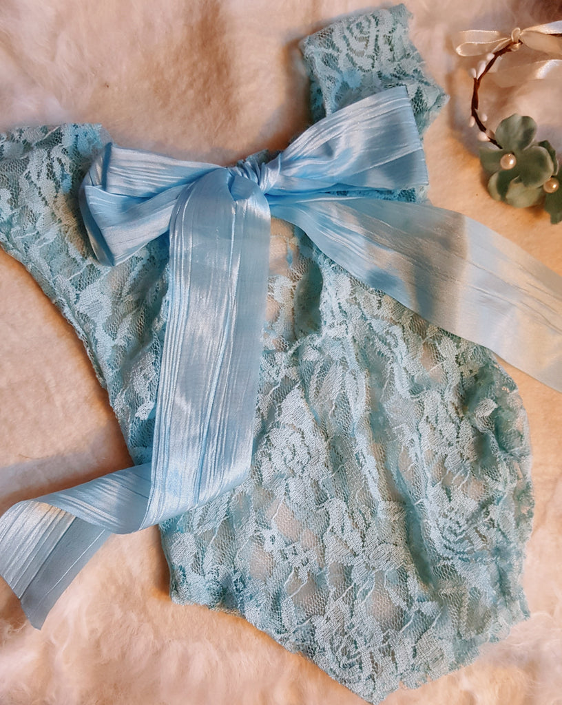 Newborn Photo Prop Cinderella Blue Lace Silk Bow Infant First Photography Baby Shower Gift Girl Headband Pictures Girl's