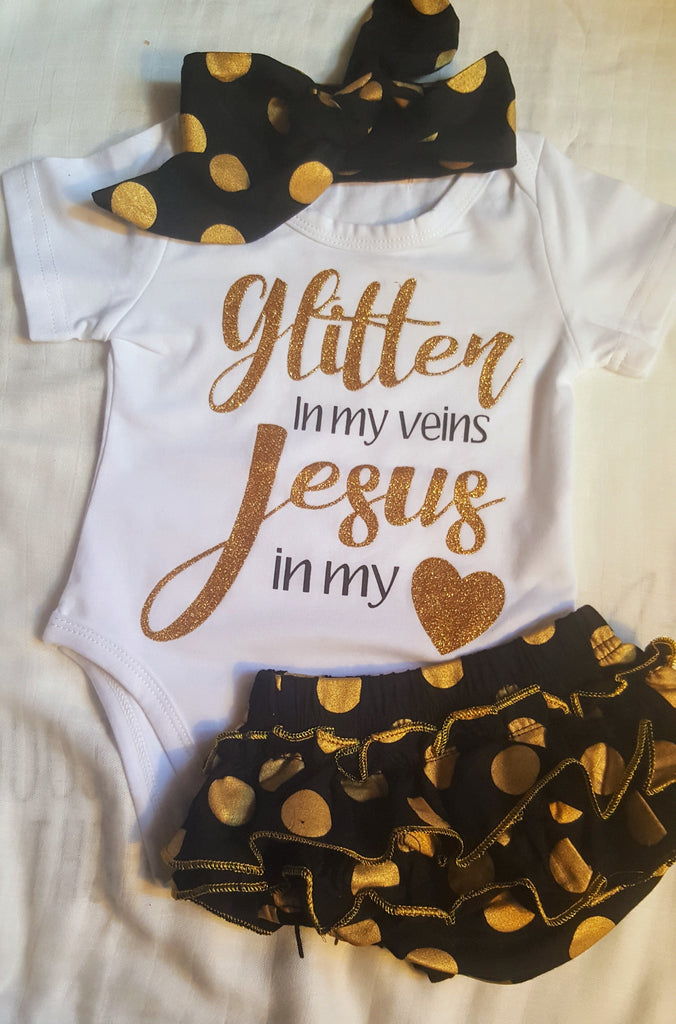 Glitter In My Veins Jesus In My Heart Nordic Infant 3 pc Girl's Newborn Baby Shower Gifts Infant Girl Clothing Christian Gift USA
