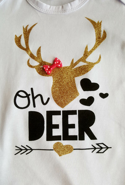 Oh Deer Bodysuit Onesie Gold Deer Antlers Pink Bow 0/6 mo Infant Grl Baby Shower Gifts Newborn
