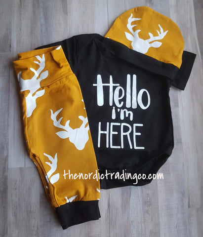 Infant Boy's Deer I'm Here Gift Set Onesie Top Beanie Hat Long Pants Marigold Black Buck Antlers Hunt Theme 0/6 mo Baby Shower Gifts Boy