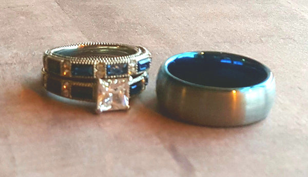 Wedding Ring Set His Her's Men's Tungsten Carbide Brushed Silver Band Women's 2pc Engagement Ring Princess Cut 1.4 ct White CZ Blue Baguettes Police Thin Blue Line Rings