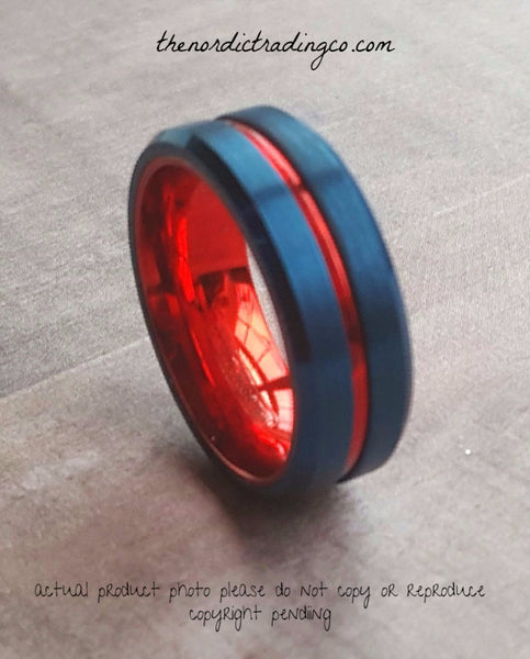 USA Men's Patriotic Wedding Band Red Blue Tungsten Carbide Perfect Military Police Officer 1st Responder Rings Men's Jewelry Ring Christmas Gift Ideas