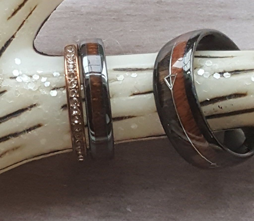 Stunning Steele Arrow Wedding Ring Set 3pc. Couples Authentic Deer Antler & Wood Inlay Ships from the USA