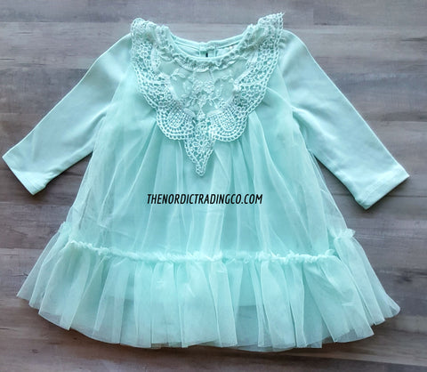 Baby Girl's Cotton Candy Colors Lace Tulle Ruffles Princess Girl Dresses Baby Shower Gifts Girls' Blue Yellow Pink Off White Infant Clothing Spring Easter Baptism Dress