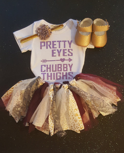 Shabby Chic Baby Girl Size One Tutu Skirt Top Headband Baby Shoes Gift Set Boutique First Birthday Photo Prop Outfits Cake Smash Party Dress Clothes 12 / 18 mo Girl's Girls