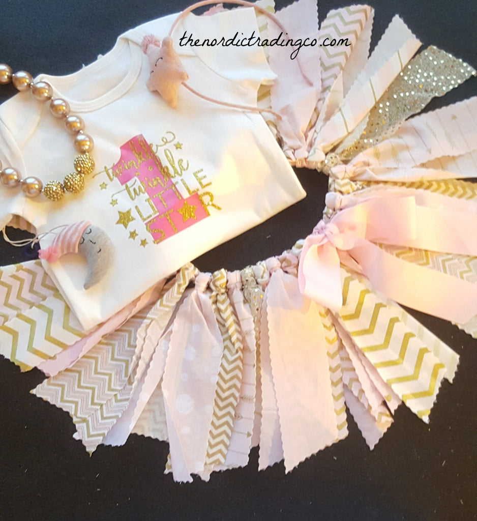 15bd1ef6b Twinkle Twinkle Little Star Baby Girls 1st Birthday Shabby Chic Twirl Skirt  Outfit Tutu Pink Gold