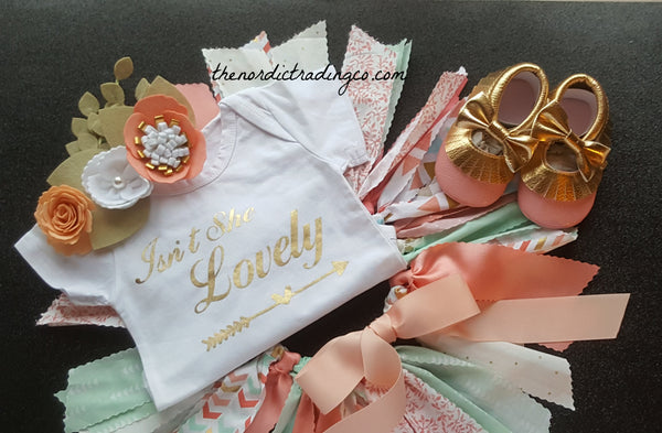 Beautiful Baby Girl First Birthday Princess Pink Coral Peach Gold 3pc Set Girl's Birthday Outfit Fabric Tutu ONE Girls Outfits sz 1 Cake Smash Day Photo Sets