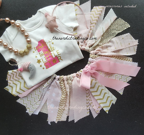 Twinkle Twinkle Little Star Baby Girls 1st Birthday Shabby Chic Twirl Skirt Outfit Tutu Pink Gold Set Plus Accessories USA Toddler Girl's Outfits Dresses