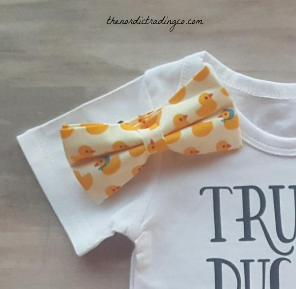 Ducks Bucks Pick Up Trucks Funny Newborn Onesie plus Rubber Duckie Bow Tie 0/6 mo Infant Boys Boy's Gifts Sets Kids