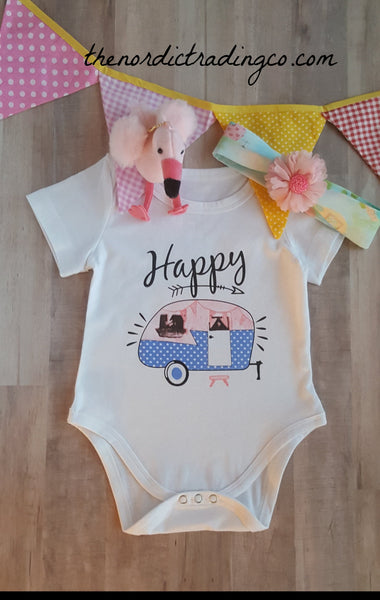 Happy Camper Infant Girl's Gift Set Retro RV Bodysuit Onesie Headband Baby Girls Sets Girl Gifts Camp Camping