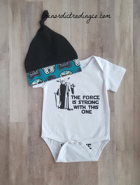 The Force Is Strong With This One Newborn Baby Boy Nordic Gift Set Funny Onesie Bottoms Beanie Hat Star Wars Inspired Infant NB Boy's Gifts Clothes