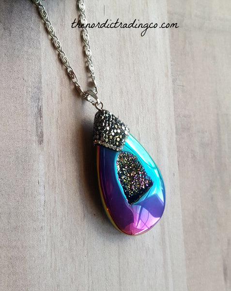 Couture Natural Stone Drusy Druzy Teardrop Pendant Women's Necklace Pave Crystal Rainbow Titanium Ore Modern Boho Pendants Gifts Womens Jewelry New Age