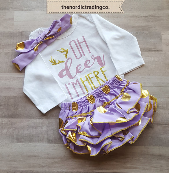 Oh Deer I'm Here Girl's Deer Antlers Outfits Purple Gold Dots 3pc Set Ruffle Bottoms Top Haitband Infant Girl's Set Baby Shower Gifts 0/6 Hunter