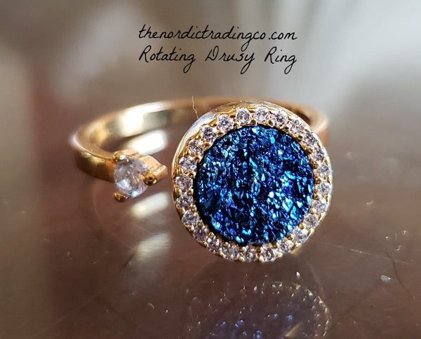 Spinning Blue Drusy Womens Ring High End Rings 14K Gold Setting CZ Accents Druzy Women's Jewelry Gifts Rotating Motion USA