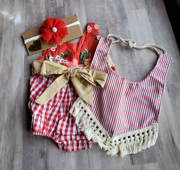 Rustic Red Checkered Floral One Piece Romper plus Striped Fringe Bib Newborn Baby Girl's Baby Shower Gift Ideas Girls Clothes French Country Farm Girl 0/6 mo.