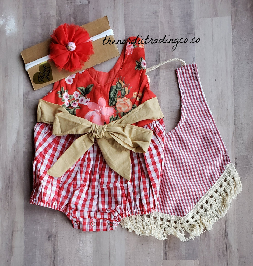 Rustic Red Gingham French Country Romper 3pc Outfit Infant Baby Girls