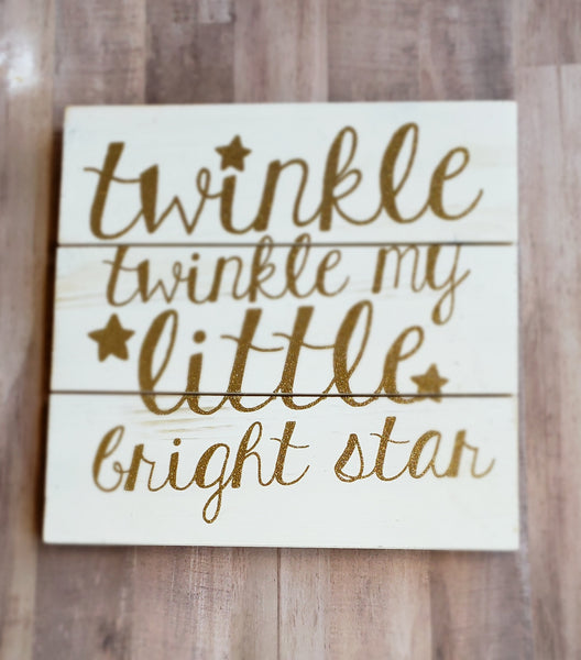 Twinkle Twinkle Little Bright Star Rustic Wood Wall Art Nursery Decor Pallet Sign Unisex Baby Shower Gift Boy or Girl Kids Room